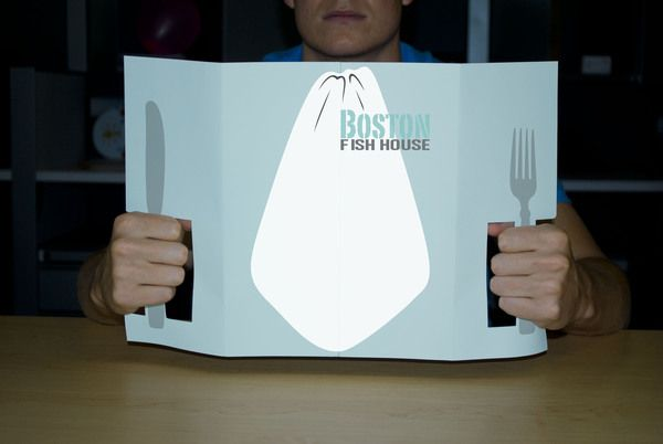 Clever... (can you tell I like clever??) Boston Fish House Menu by Charissa Gunther, via Behance
