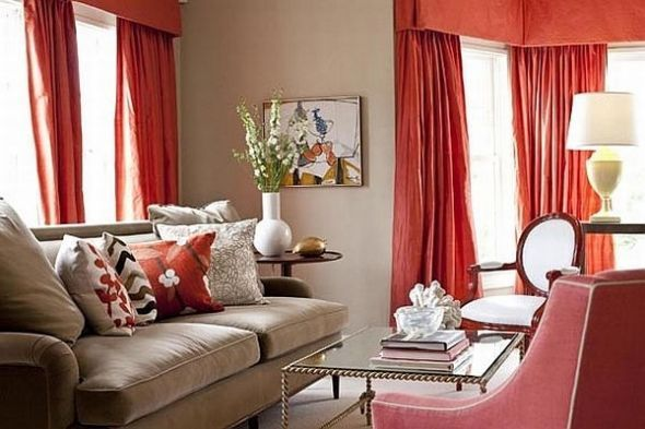 May need to incorporate redish orange in living room