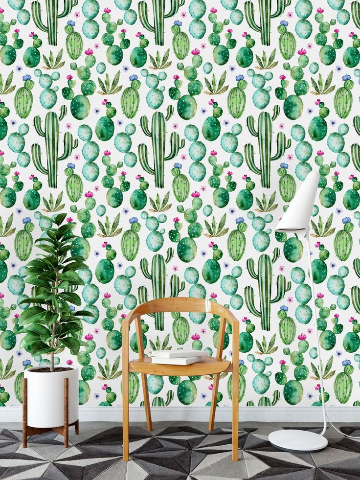 Hand Painted Watercolor Cactus Removable WallpaperPeel