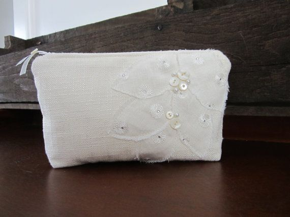 Wedding clutch, wedding bag, Brides purse, Bride clutch, zippered clutch bag, Lady's purse, Mother of the bride, white clutch, flower clutch on Etsy, $43.00
