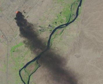 Dramatic Photo From Space Shows Iraq Oil Refinery Ablaze