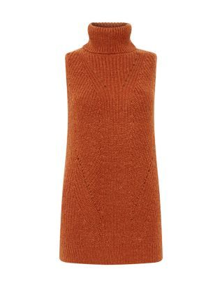 A great transitional piece - this Rust Roll Neck Sleeveless Jumper can be worn alone or over long sleeve tops when temperatures drop. £19.99 #AW15edit #newlook #fashion