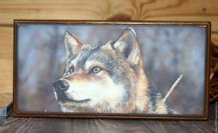 "Купить ""Wolf"" Купюрница-шкатулка для мужчин - Декупаж, купюрница, шкатулка-купюрница, деньги, ретро"
