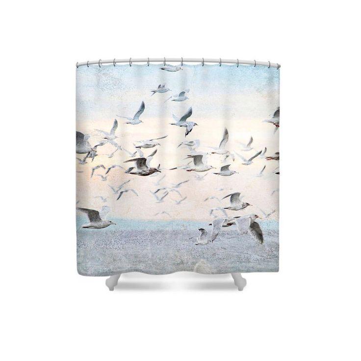 Lovely Beach Shower Curtain, Bird Shower Curtain, Seagulls, Pastel Bathroom,  Bathroom Decor,