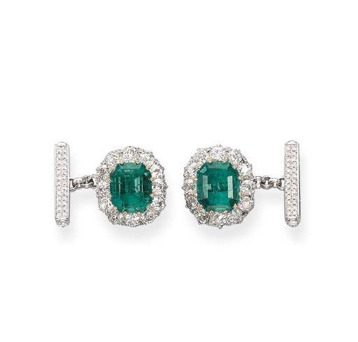 A Pair of Emerald and Diamond Cufflinks  Each set with an octagonal-shaped emerald within an old-cut diamond border to the pavé-set diamond and calibré-cut emerald link, 1.7 cm long  - Sold for $30,874