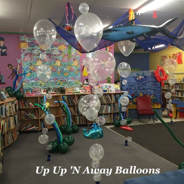 Book week at the Library. Underwater Bubble balloons with sea creatures