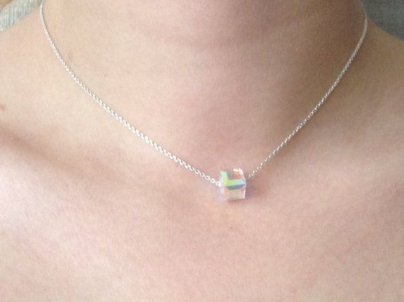 Swarovski Crystal Aurora Borealis Cube Necklace Charm by ClarityGR, €20.70