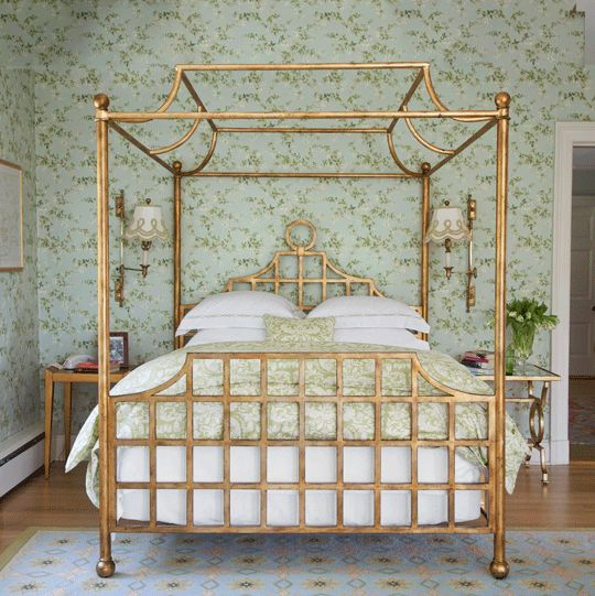 exquisite gold-leaf canopy bed in the home of designer Annie Selke #bedroom  #