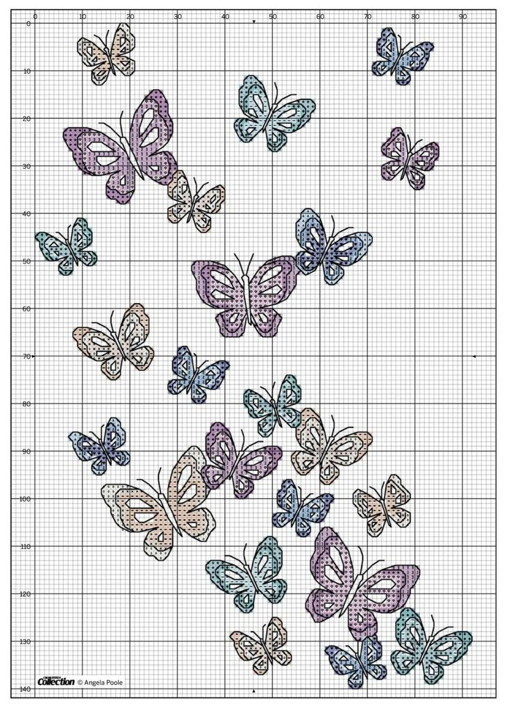 Cross-stitch Butterflies, part 2... no color chart, just use the pattern chart as your color guide or choose your own colors.