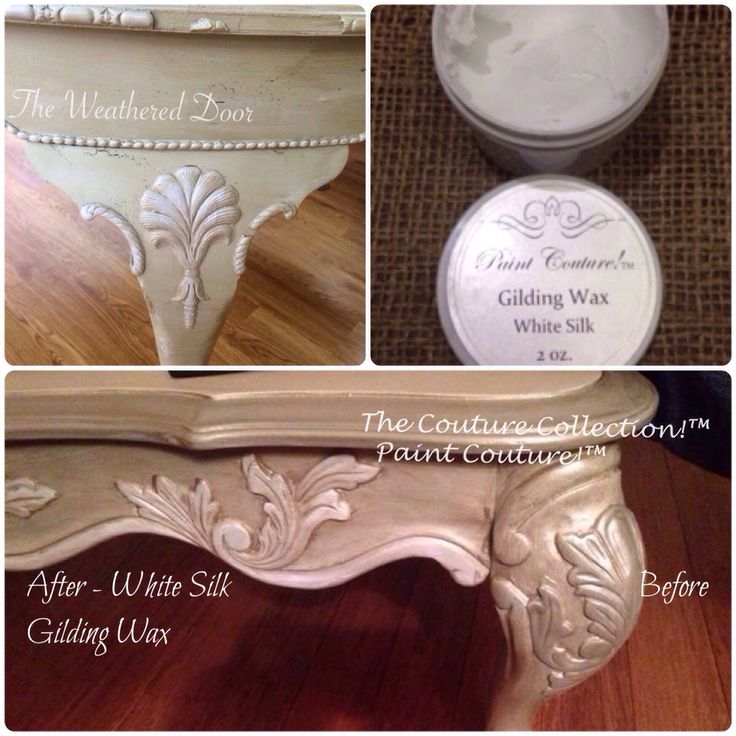 Add some White Silk all natural Gilding Wax to enhance your painted furniture! #paintcouture #thecouturecollection #gilding wax