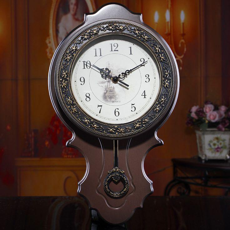 2015 nova moda criativa relógio de parede europeu retro sala de estar mudo de quartzo relógios digitais alishoppbrasil