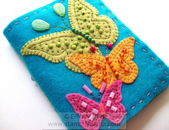 Beaded Butterlies felt covered journal  handmade  by erikaerin, $24.00