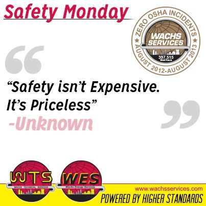 At Wachs Services, Safety is not just an objective but at the center of our culture!  Always Be Careful on the job site, in the workplace and in all aspects of your life.  #Safety #SafetyMonday #SafetyFirst #OSHA #Wachs #WachsServices #Commitment #Nuclear #Construction