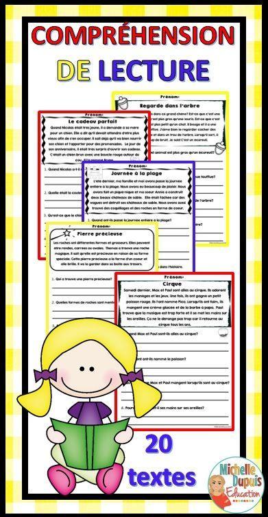 Compréhension de lecture: Cette ressource contient 20 compréhensions de lecture qui permettront aux élèves de démontrer les stratégies apprises en classe. Il y a quatre questions par page. Ces compréhensions de lecture peuvent être utilisées avec le groupe classe ou en clinique avec de petits groupes.