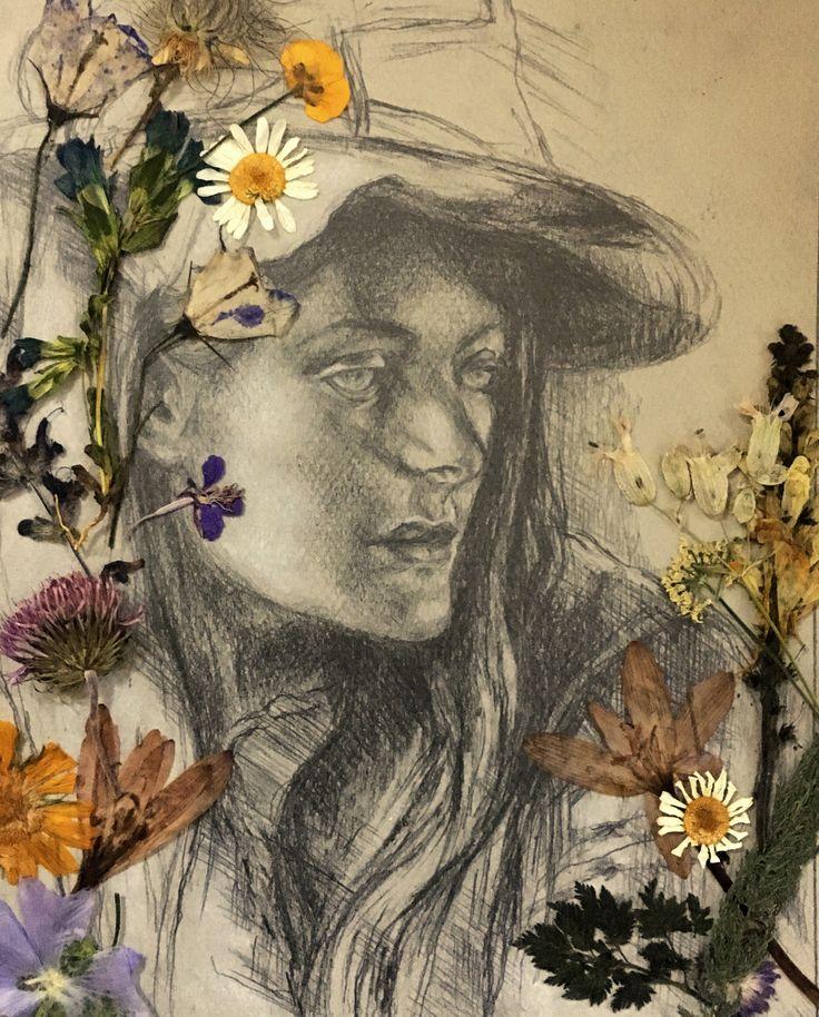 Wildflower girl - master study sketch - graphite on grey toned pastel paper    #wildflowers # wildwoman #Swiss #Alps #graphite #portrait #pastel #faces #women #flowers