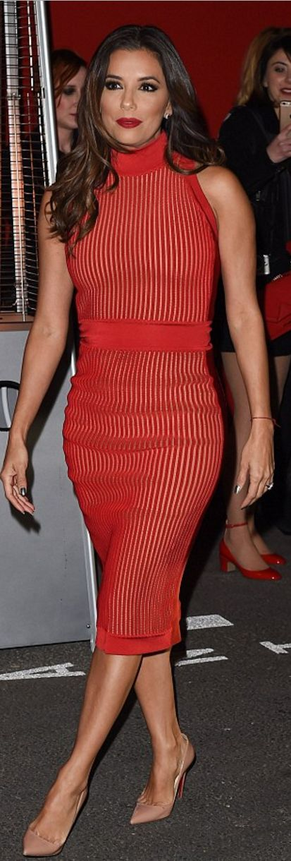 Who made  Eva Longoria's nude pumps and red stripe dress?
