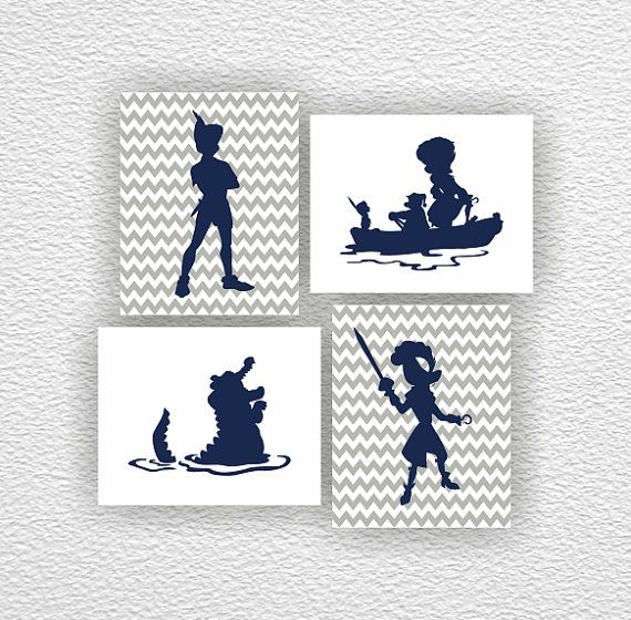 Disney silhouette, Peter Pan Silhouette, Captain Hook Stencil, Chevron, Gray, Navy Blue, Set 4-8x10, Instant download