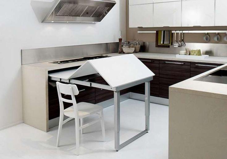Decoración cocina: fotos ideas para ahorrar espacio - Mesa plegable cocina