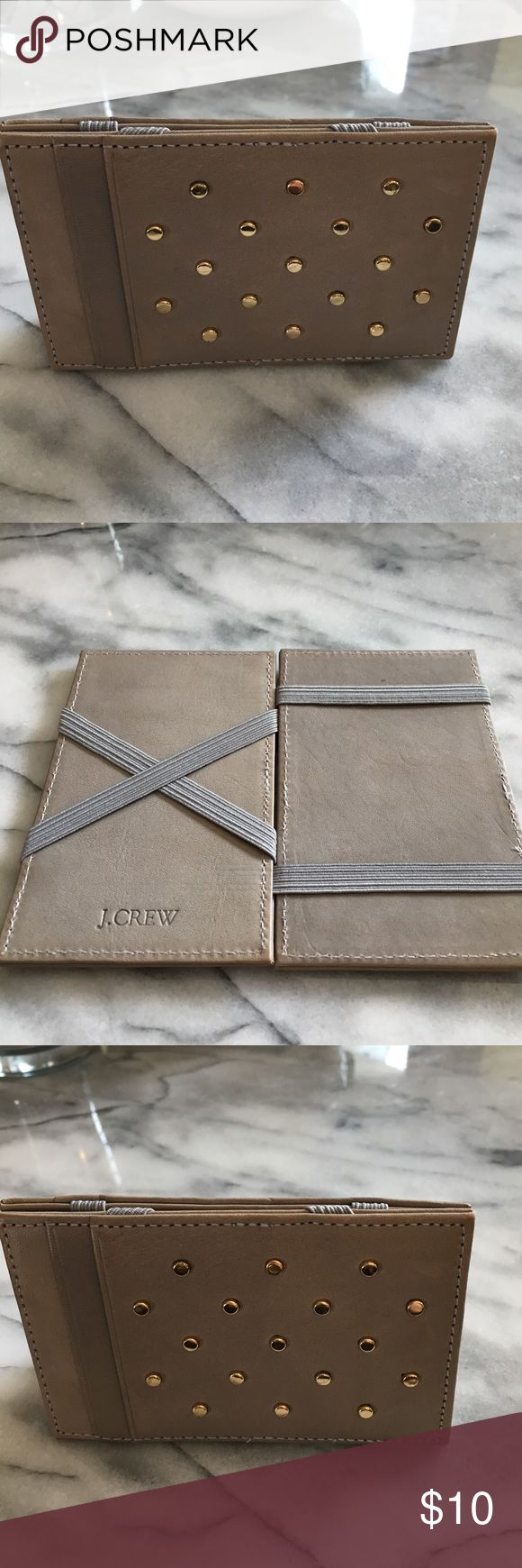 J Crew leather gold studs magic wallet J. Crew leather gold stud magic wallet gently used J. Crew Bags Wallets