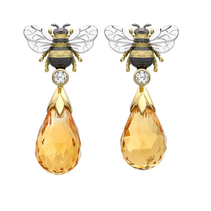 Yellow & White Gold Citrine Bee Drop Earrings   Theo Fennell 18ct Yellow & White Gold, Citrine 17.31ct & Diamond 0.21ct.