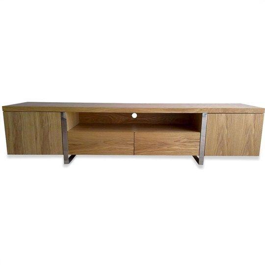 New York Lowline Tv Unit - Natural Oak Veneer - Entertainment - Replica Furniture