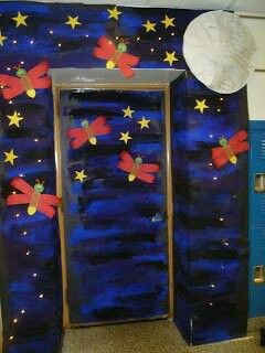 Love this door decoration. Could put something about lighting up the library or reading.
