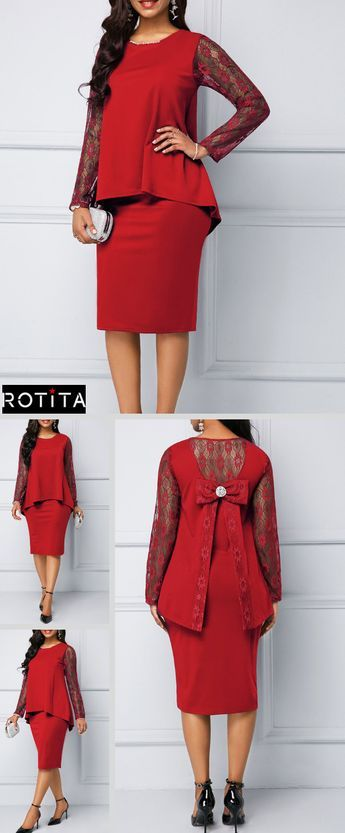 b8fefce704 There s no such thing as too much red.Make a statement in this midi-length  dress with button details on back and a playful pop of lace.