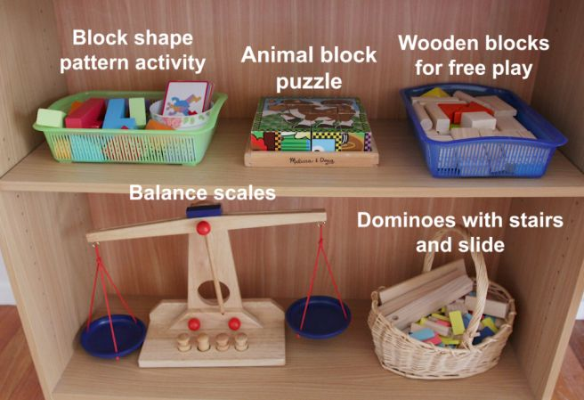Montessori inspired activity shelf - 4 and 6 year olds