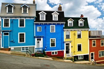 Downtown St. John's - Heard a rumor that houses used to be painted with left over paint from people's boat colors.