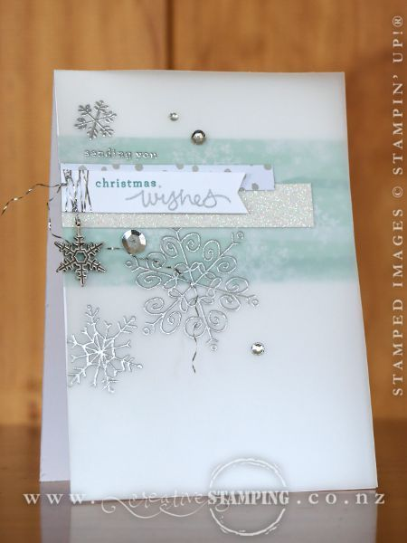 Stamping on vellum adds softness to the appearance of your card.