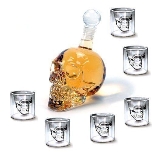 HOMITEX Bouteille de Vin + 6 × 75ML Verres à Vin, Bouteille à Tête de Mort Verres de Crâne de Mort Alcool Skull pour Vodka Whisky Cognac:…