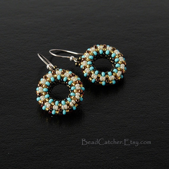 turquoise beadwoven donut earrings via Etsy