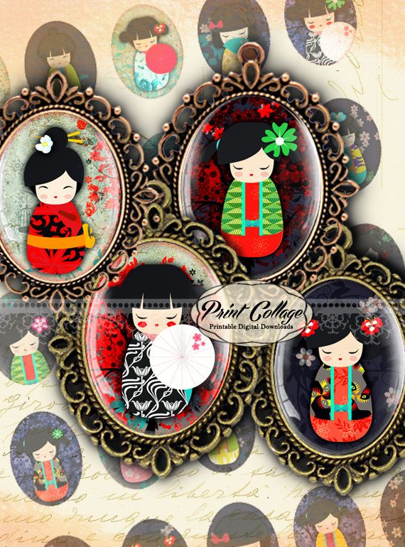 Kokeshi Doll Cabochon oval images Digital by PrintCollage on Etsy
