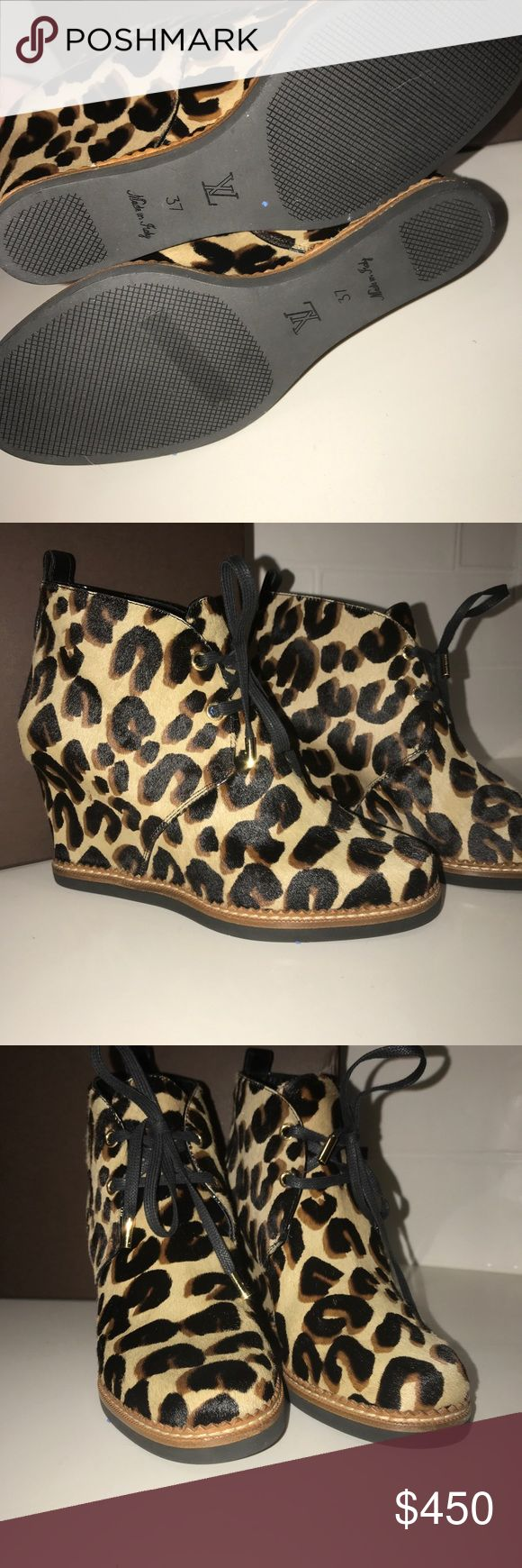 Authentic Louis Vuitton Cheetah Wedges Gorgeous Louis Vuitton Cheetah print pony hair wedges. Perfect condition with original Louis Vuitton laces. Comes with box and dust bags. Louis Vuitton Shoes Ankle Boots & Booties