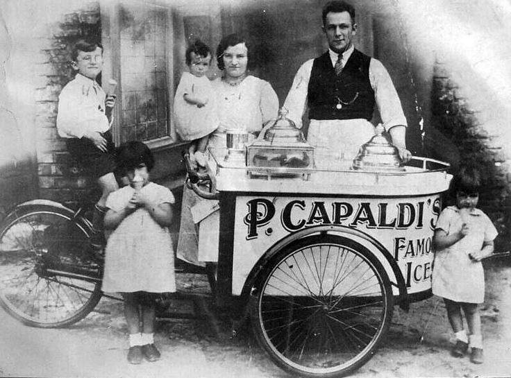 Vintage photo of P. Capaldi, Ice Cream Man with his truck.