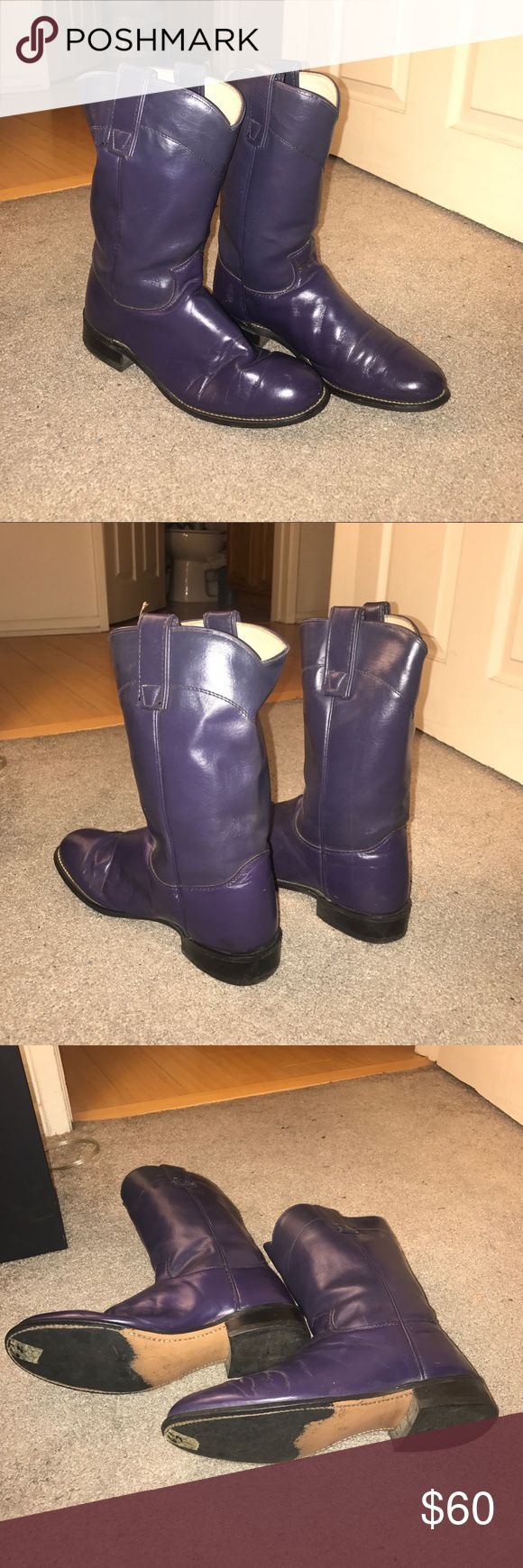 Purple leather cowboy boots Genuine leather. Minor signs of wear. Super cute for summer and winter occasions! Texas Leather Manufacturing Shoes Combat & Moto Boots