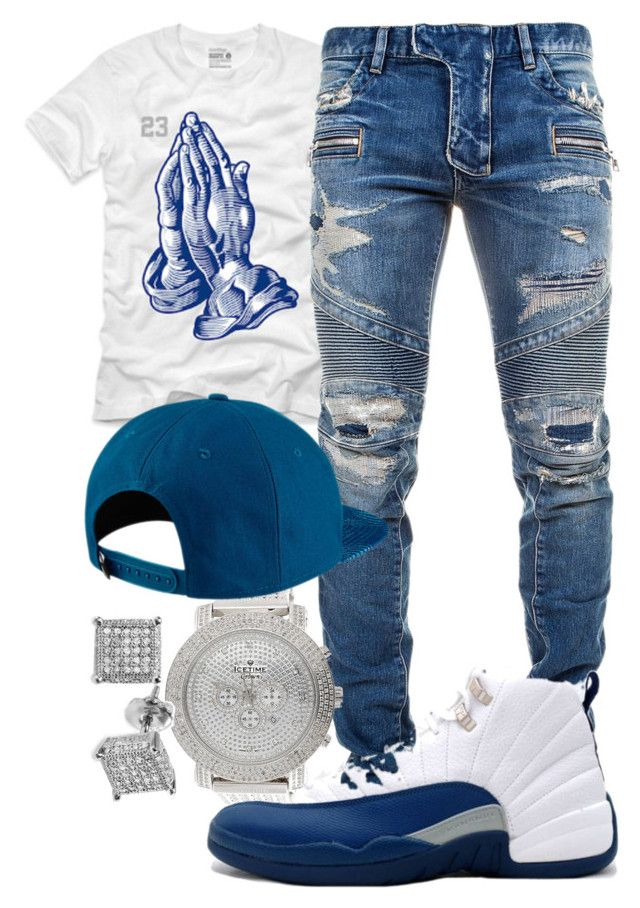 """YG- Fvck Donald Trump"" by young-rich-nvgga ❤ liked on Polyvore featuring Balmain, Ice Time, Jordan Brand, men's fashion and menswear"