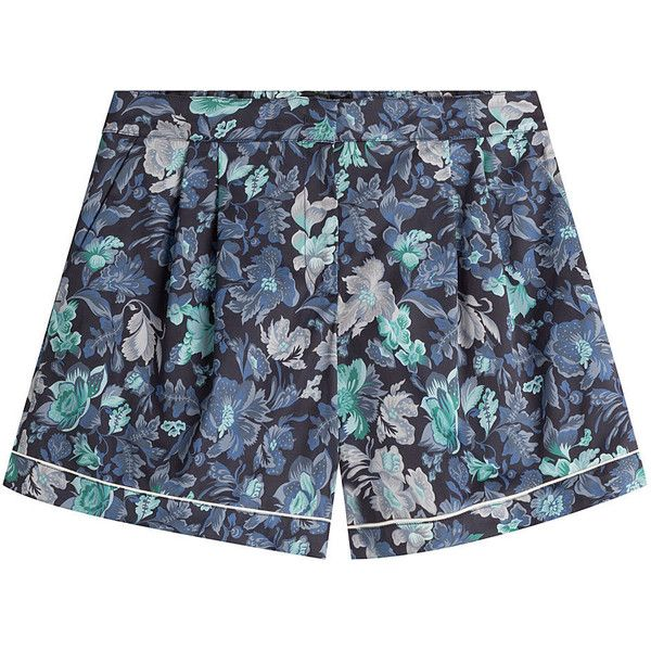 Burberry Printed Cotton Shorts ($240) ❤ liked on Polyvore featuring shorts, short, florals, burberry, flower print shorts, cotton shorts, tailored shorts and anchor shorts