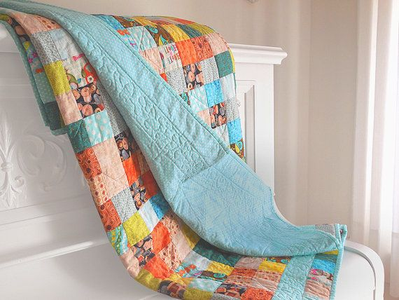 Modern postage stamp quilt / child quilt / child blanket / multicolored and turquoise quilt