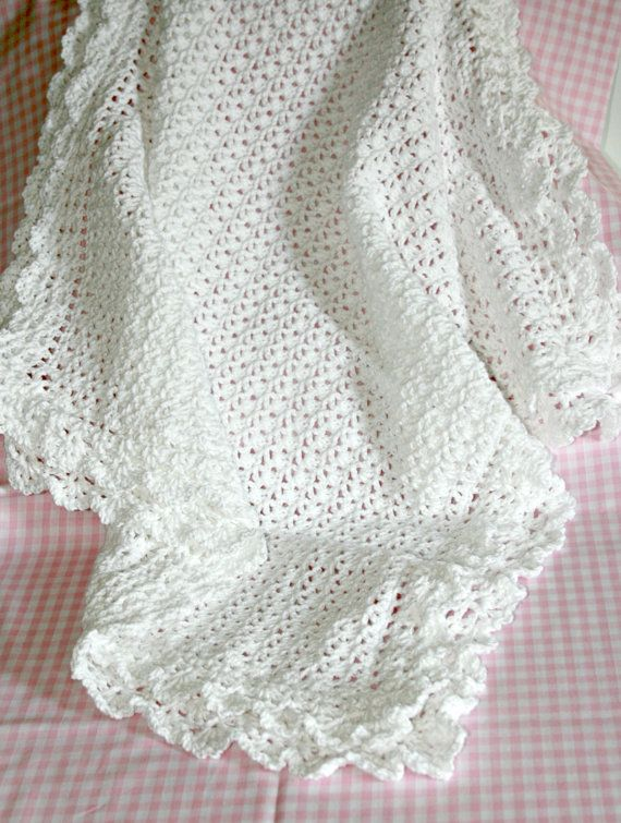 Pure Natural Cotton 'Victorian' Baby Crochet Blanket In White Double Delectable Lacy Baby Blanket Crochet Pattern