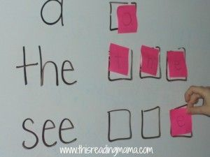 Write the sight words on a board and scatter letters on post it notes around the classroom - This Reading Mama.