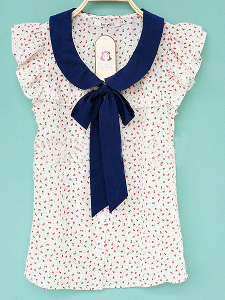Beige Ruffle Sleeve Floral Print Bow Tie Neck Shirt