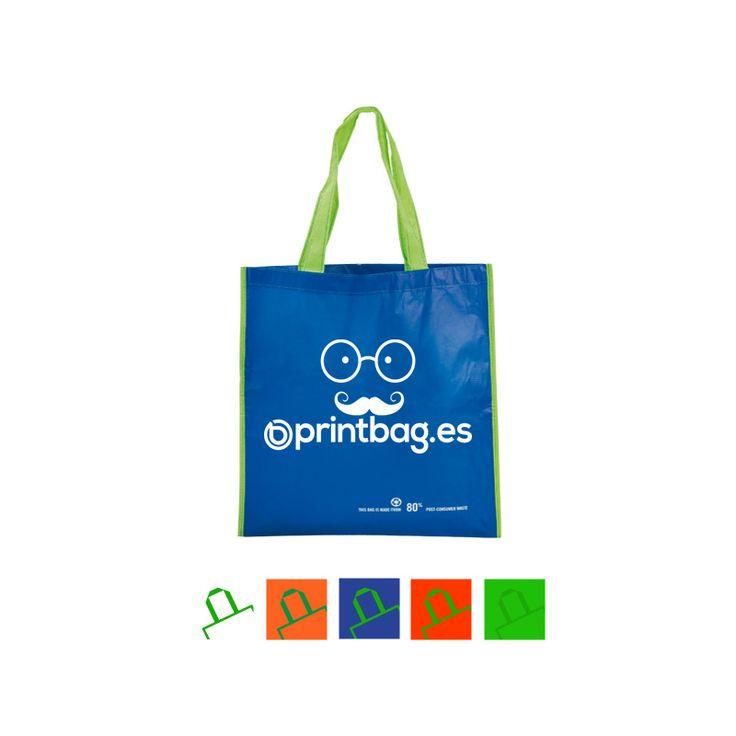 Bolsas publicitarias en pet reciclado azules con asa verde personalizadas