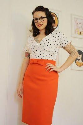 Orange pencil skirtHigh Waist Pencil, Better Sewing, Colors, Bright Pencil, Pencil Skirts, Bows Details, Bows Pencil, Bigger Bows, Bows Instructions