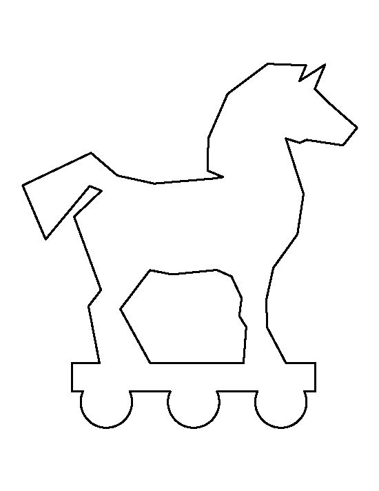 Trojan horse pattern. Use the printable outline for crafts, creating stencils, scrapbooking, and more. Free PDF template to download and print at http://patternuniverse.com/download/trojan-horse-pattern/