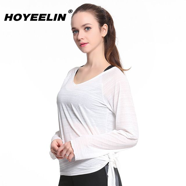 US Women Yoga T-shirt Workout Gym Running Sports Long Sleeve Casual Tops Blouse