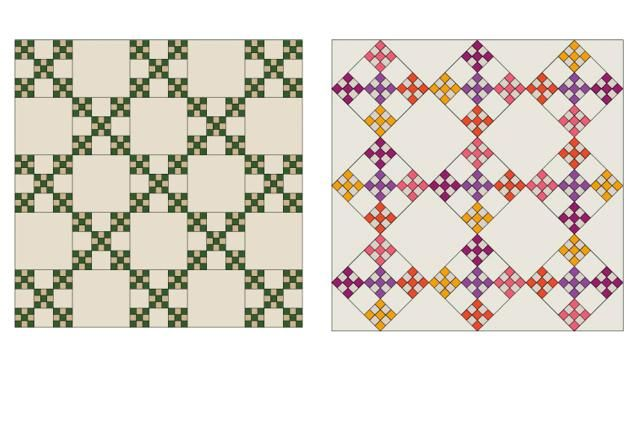 Try my Double Nine Patch quilt block pattern to make a quilt. Beginners can sew this quilt block with ease and the design can be varied in endless ways.: Double Nine Patch Quilt Block Layouts