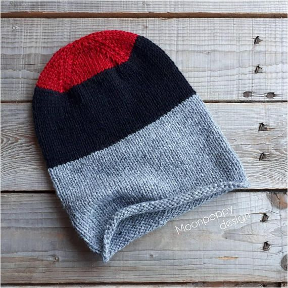 Slouchy hat knit beanie hand knit grey/ black/ red hat/