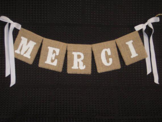 MERCI bannière de toile de jute - utilisation pour vos Photos Merci - choisissez votre Photo de mariage de couleurs - Français - Prop.