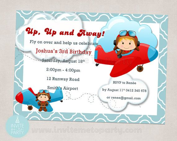 Little Pilot / Little Aviator Invitation by InviteMe2Party on Etsy, $12.00